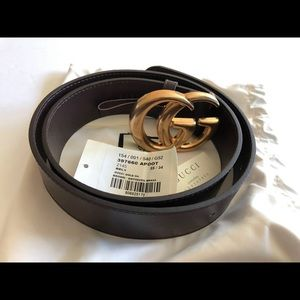 Gucci dark brown double G leather belt 85/34